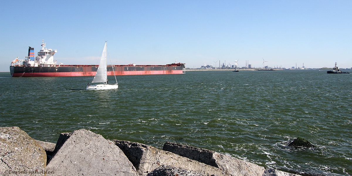 Haven IJmuiden vanaf de Zuidpier gezien